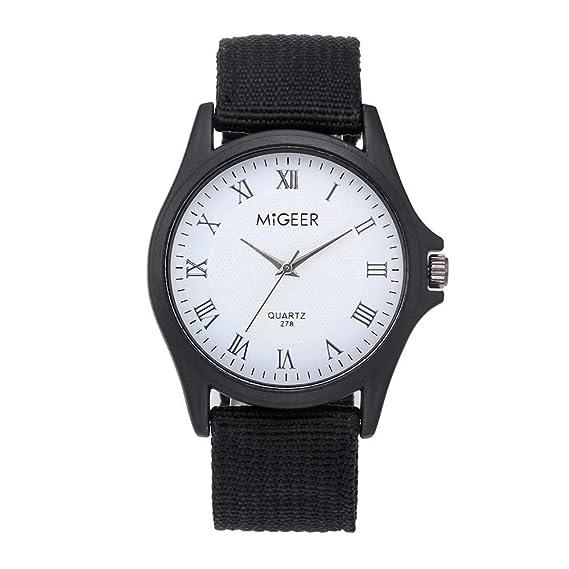 Reloj de Pulsera de Mujer, javpoo, Relojes clásicos de Hombre y de Mujer con Correa de Nailon y Correa de Pulsera con Correa de Cuarzo B: Amazon.es: Relojes