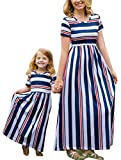 YT couple Family Matching Striped O-Neck Short Sleeve Maxi Dress Mommy and Me High Waist Long Dress (Striped, Mom/XL)