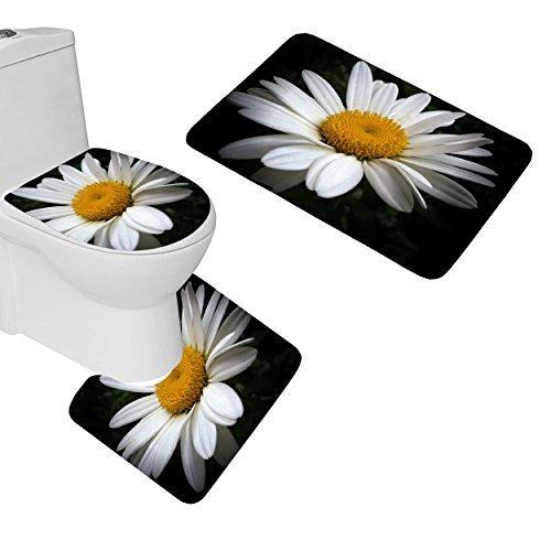 Smooffly Bathroom Rug Flower Daisy Pattern 3 Piece Bathroom Mat Set, Contour Mat U-Shaped Toilet Floor Rug Soft Non-Slip Bathroom Decor, Black Yellow - Daisy Flannel Fabric