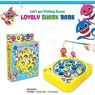 Fishing Game Toy Set with Single-Layer Rotating Board with On/Off Switch for Quiet Play Includes 15 Fish and 2 Fishing Poles Gift for Toddlers and Kids (Blue)