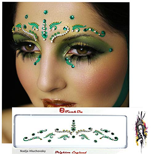 FunkOn Green/Silver Bridal Bindi/Bollywood Costume/Face Art Gems Set/Brow Jewels/Tikka Indian Wedding Diamante/Glitter Crystal Face Gem Makeup for Festivals/Stick on Face BodyTattoo/BBDGR