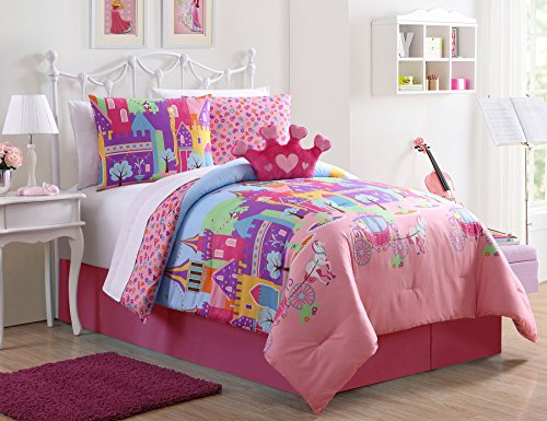 Twin 7 Piece (Twin Princess Bedding Comforter 7 Piece Bed in a Bag Set Fairy Tale Castle with Sheets)