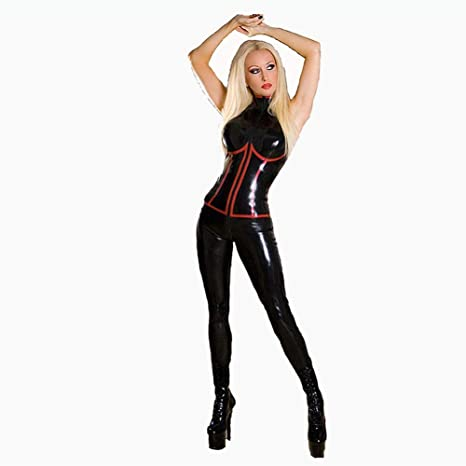 Cuero de la PU Disfraz Catsuit de Cosplay Traje Adulto Tight Body ...