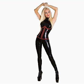 Amazon.com: Disfraz de piel de látex negro sexy de PVC ...