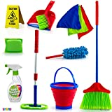 Kids Cleaning Set 12 Piece - Toy Cleaning Set Includes Broom Mop Brush Dust Pan Duster Sponge Clothes Spray Bucket Caution Sign - Toy Kitchen Toddler Cleaning Set - Original - By Play22