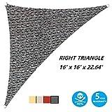 AsterOutdoor Sun Shade Sail Triangle 16' x 16' x