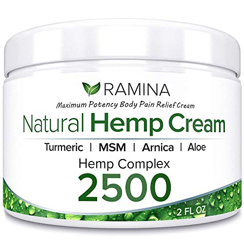 Ramina Natural Hemp Extract Pain Relief Cream - 2500 Mg - Hemp Salve Contains Turmeric, MSM & Arnica - Relieves Inflammation, Muscle, Joint, Back, Knee, Nerves & Arthritis Pain - Made in USA - Non-GMO - Natural Sports Rub