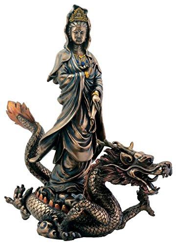 (Bronze Kuan Yin with Dragon Buddhism Display Statue)