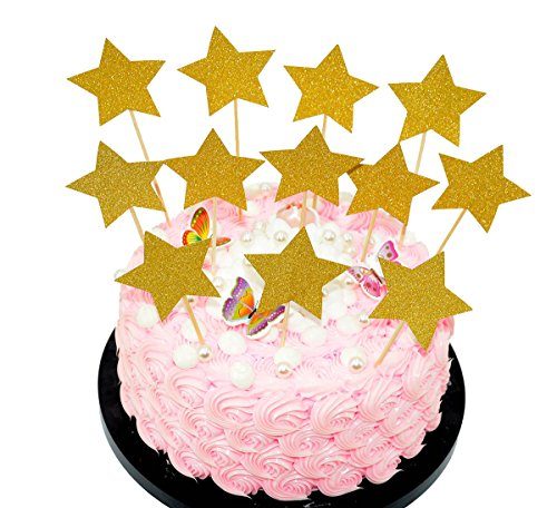 Perfec Twinkle Twinkle Little Star Birthday Cupcake Toppers Baby Shower Cupcake Toppers Gold Star Toppers Set of (Twinkle Birthday)