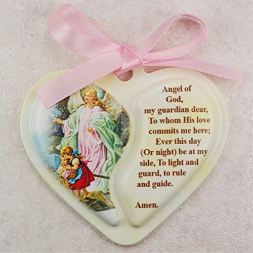Guardian Angel Heart Crib Medal, Includes Pink Ribbon - Décor Gift Religious