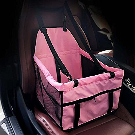 GENORTH Dog Car Seat Upgrade Deluxe Portable Pet Dog Booster Car Seat with Clip-On Safety Leash and Dog Blanket,Perfect for Small and Medium Pets,Pink
