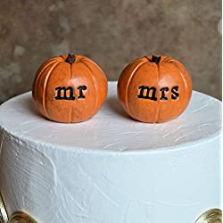 Wedding cake topper...Set of 2 rustic orange clay mr mrs pumpkins