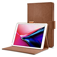 Spigen Stand Folio iPad Pro 12.9 Case, iPad Pro 12.9 2017 Case with Multi-Functional Premium Leather Stand with Pocket Hand strap Pencil Holder with Auto Sleep and Wake Function for Apple iPad Pro 12.9 Inch 2017 - Brown