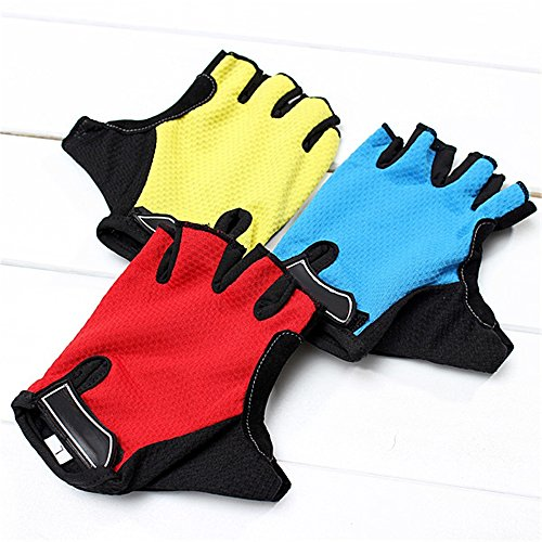 SUPOW Shockproof Fingerless Jel Padded Cycling Gloves Road Racing Bicycle Gloves Unisex Gloves Half Finger Gloves Mitten Microfiber Glove