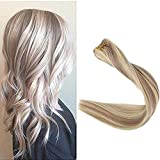Full Shine Thick Hair Bundles 12 Inch Short Hair Weave Human Hair Bundles Color 18 Ash Blonde Highlight 613 Bleached Blonde Human Hair Hair Wefts Remy Double Weft Thick Ends