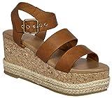 MVE Shoes Women's Stylish Comfortable Platformed Wedge Open Toe Adjustable Ankle Strap Low Heel, Bettina-2 Cognac 8