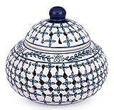 NOVICA Large Decorative Floral Ceramic Jar, Blue, 'Sweet Innovation'