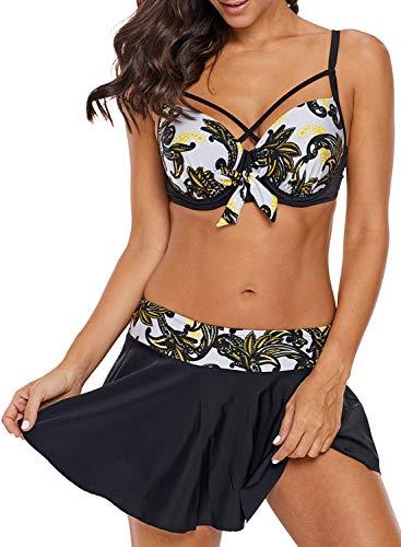 Dearlove Push Up Criss Cross Bikini Top Strappy Padded Bathing Suit Two Piece Tankini Swimsuit with Swim Skirt Black XL
