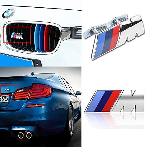 MASHA Compatible BMW Car Emblem 3D M Power Front Grill Badge Emblem M Performance Decorative Tri Color and Rear Trunk Emblem Logo Decal Sticker for All BMW Accessories (2pcs) (M Power Grill Emblem)