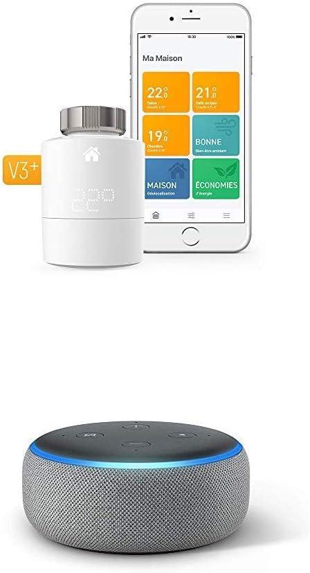 3/ème g/én/ération Thermostat Intelligent Kit de D/émarrage V3+ Enceinte connect/ée avec Alexa Contr/ôle intelligent du chauffage Tissu gris chin/é Echo Dot