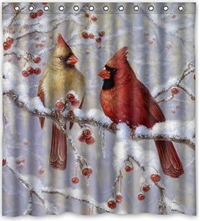 Amazon.com: Cardinal Holiday Shower Curtain, Machine Washable ...