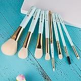 amoore Makeup Brushes Makeup Brush set Makeup Brush with Case Foundation Brush Powder Brush (8 Pcs, Mint Green)