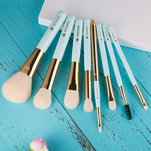 amoore 8 Pcs Makeup Brush Makeup Brushes with Case Makeup Brush set Foundation Brush Powder Brush (8 Pcs, Mint Green)