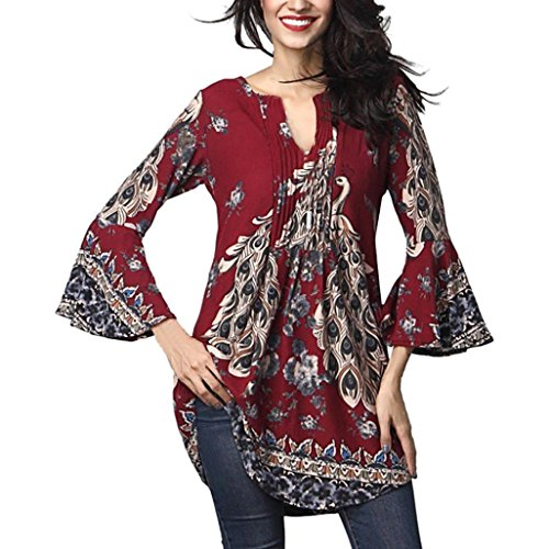 - Teresamoon Women's Printed Long Sleeve Pleated Casual Flare Tunic Blouse Shirt