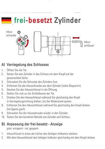 10/mm Serrure de porte en verre pour WC avec c/œur dr/üc pour /épaisseur du verre 8