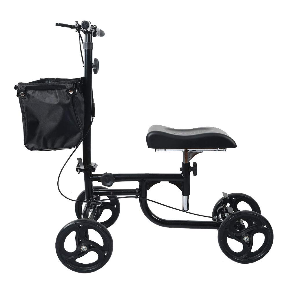 ELENKER Steerable Knee Walker Deluxe Medical Scooter for Foot Injuries Compact Crutches Alternative Black by ELENKER (Image #4)