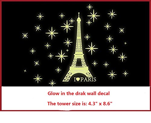 (Amaonm Removable PVC Glow in The Dark I Love Paris Eiffel Tower Wall Decals Home Art Decor Noctilucent Wall Sticker Luminous Light Stars Wall Stickers for for Kids Room Bedroom Celling Decorations)