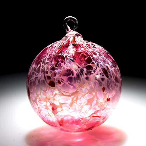 Ornament. Sun catcher. Hand blown Fine Art Glass Ornament in Pink with White Powder. Made in Seattle. Artist Dehanna Jones.