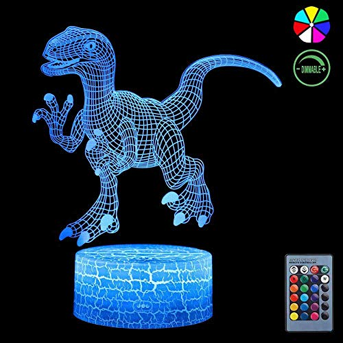 3D Night Light, 7 Colors Changing Smart Switch Remote Control USB & Battery Powered Jurassic Dinosaur Toy 3D Crackle LED Desk Lamps Perfect Birthday Christmas Party Gift for Baby Kid Boy Girl Friend