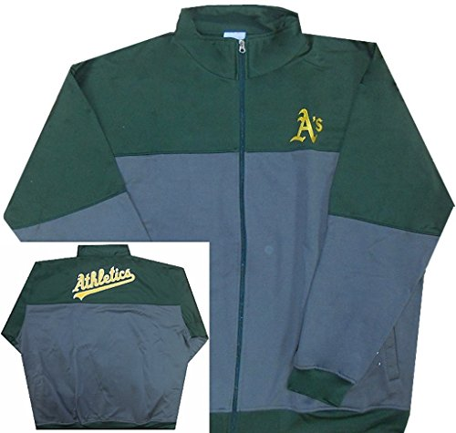 Oakland Athletics Track Jacket - Majestic Oakland A's MLB Mens 2-Tone Track Jacket Big & Tall Size (3XL)
