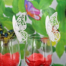 MagiDeal 50pcs Butterfly Wine Glass Name Place Cards Wedding Cup Topper Decor -Multicolor - Ice white