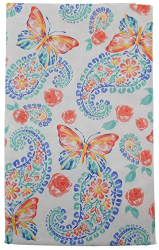 Mainstream Springtime Floral Paisley with Butterflies Vinyl Flannel Back Tablecloth (60