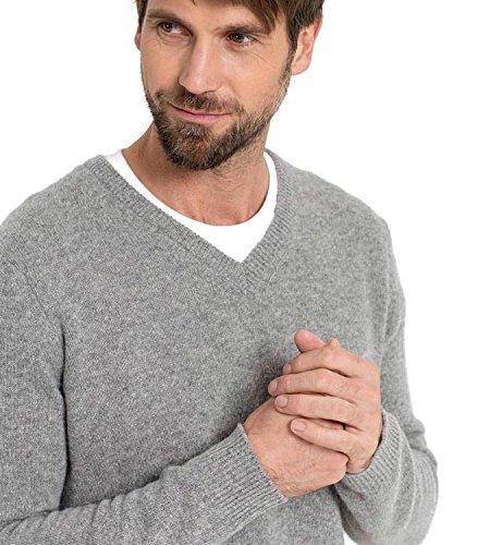 WoolOvers Pullover mit V-Ausschnitt aus Lammwolle für Herren Flannel Grey, M