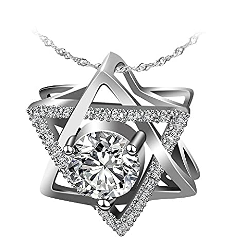 Jewelry Sterling Silver Pendant Necklace Hexagram / Star of David Necklace Exquisite Gift Package (Star Of David Silver Pendant)
