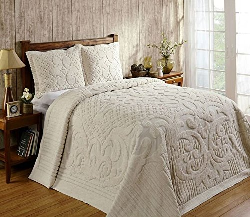 Better Trends / Pan Overseas Ashton 430 GSM Heavy Weight 100-Percent Cotton Chenille Tufted Bedspread, King, Ivory