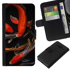 Planetar® Modelo colorido cuero carpeta tirón caso cubierta piel Holster Funda protección Para Samsung Galaxy Core Prime / SM-G360 ( Koi Goldfish Pond Golden Red Black )