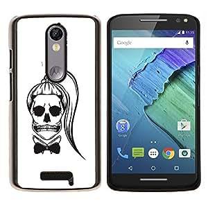 Stuss Case / Funda Carcasa protectora - Cráneo Cola de caballo Funny Girl Muerte Blanca - Motorola Moto X3 3rd Generation