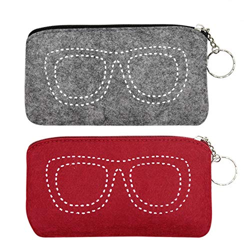2 Pcs Soft Felt Eyeglass Case Makeup Storage Bag Portable Sunglasses Pouch