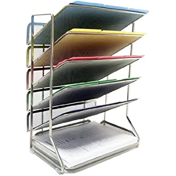 Seville Classics 6-Tray Iron Mesh Office Vertical Desktop/Wall Mount Organizer, Letter/A4 Size