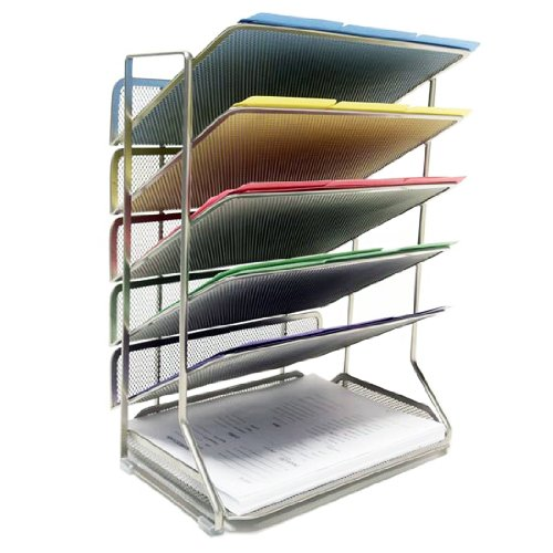 Seville Classics 6-Tray Iron Mesh Office Vertical Desktop/Wall Mount Organizer, Letter/A4 - Wire Shelf White Usa