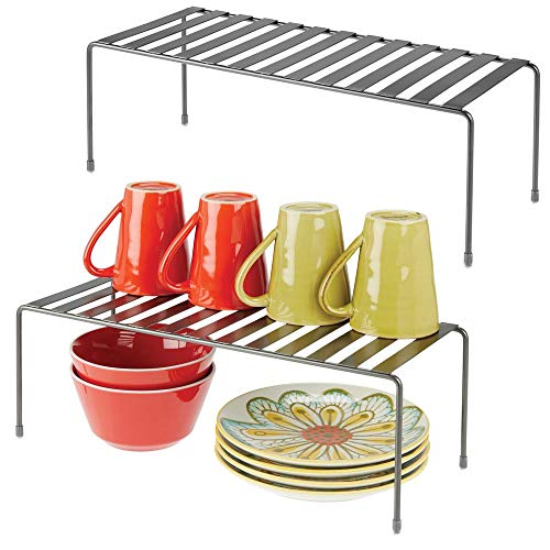 mDesign Modern Metal Storage Shelf Rack - 2 Tier Raised Food and Kitchen Organizer for Cabinets, Pantry Shelves, Countertops Dishes, Plates, Bowls, Mugs, Glasses, 2 Pack - Graphite Gray (Glass The Cupboard)