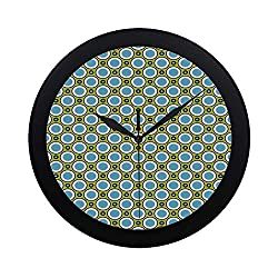 C COABALLA Geometric Circular Plastic Wall Clock,Retro Circles with Dots Round Design Elements Vintage Inspirations for Home,9.65 D