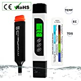 home drinking water treatment devices TDS Meter Digital Water Tester with Backlit LCD, Accurate Professional TDS EC Temperature Test Pen for Drinking Water Quality, Hydroponics, Swimming Pools, Aquariums, 0-9990 ppm, ± 2% Accuracy