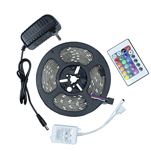 Tanbaby 16.4ft 5M Waterproof RGB Flexible Led Strip Light SMD 5050 300leds, 24key Remote Controller,DC12V Power...