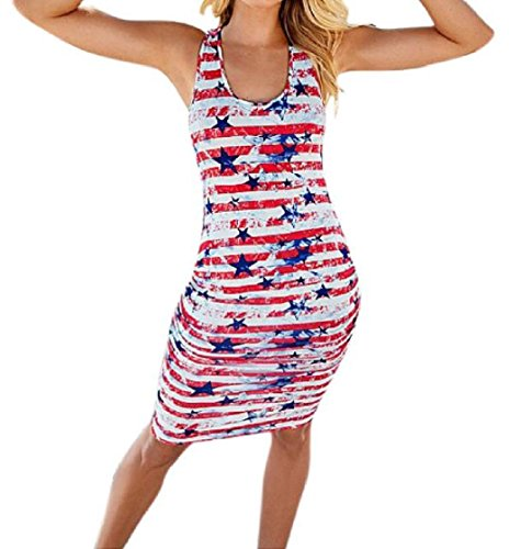 Coolred Star Picture Stretchy Cozy Summer Sexy Patriotic Beachwear Fit Dress 4th As One Silm Sleeveless Step Mid Women July rpqIUr
