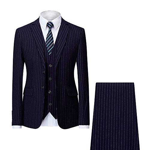 Breasted Suit Single Pant (MAGE MALE Men's Pinstripe 3 Piece Suit Slim Fit Elegant Single Breasted Business Wedding Party Blazer Vest& Pants Set)